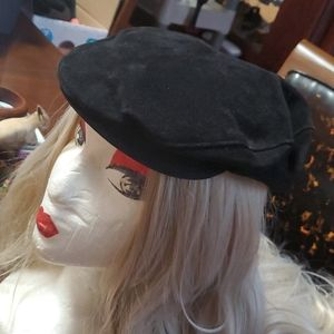 Vintage Suede Newsboy Ladies Hat Cap